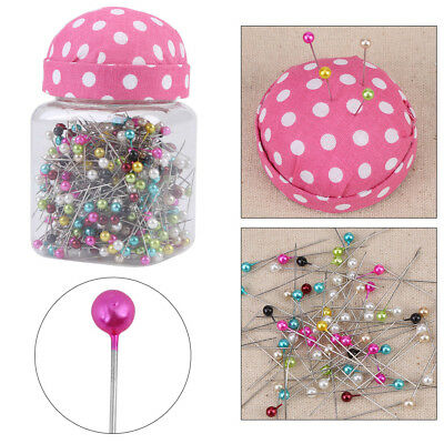 500Pcs Colorful Straight Plastic Head Pins in Fabric Covered Pin Cushion Bottle