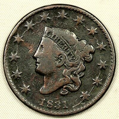 CIRCULATED 1831 CORONET HEAD LARGE CENT 1c