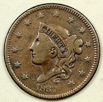 CIRCULATED 1837 CORONET HEAD LARGE CENT 1c