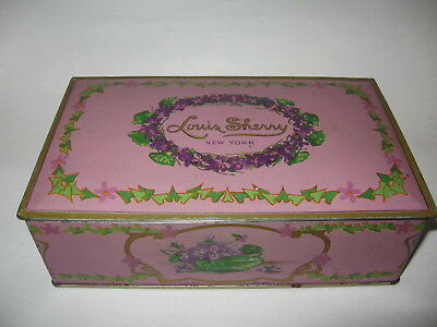 Vintage Louis Sherry of New York Candy Metal Tin 1 lb Hinged Lid Made by Canco