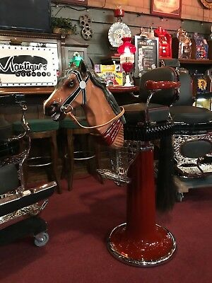 "1900's Barbershop Chair Emil Paidar Child's w/ Carved Horse Head  ""Watch Video"""