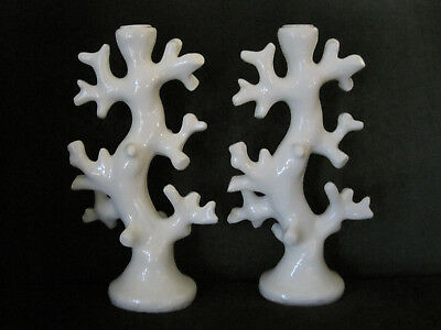 Vintage Pair (2) White Coral Reef Style Candle Holders Nautical Beach Hollywood