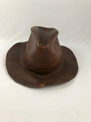 Henschel Hat Co.  VINTAGE WESTERN Brown Distressed Leather Hat Size XL