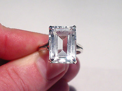 Antique Art Deco Sterling 14 Carat Rock Crystal Solitaire Engagement Ring