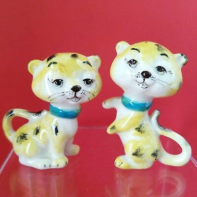 Vintage Spotted Cats Leopard Cheetah Jaguar Ocelot Figural Salt Pepper Shakers
