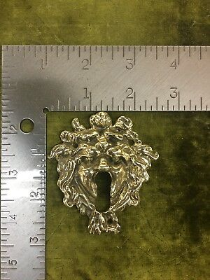 Victorian Antique Brass Door Trunk Chest Drawer Lock Key Hole Cover Plate metal