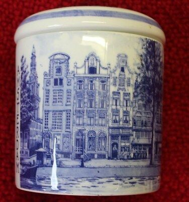 "Amsterdam Delft Blue Hand Painted Porcelian Jar 5"" x 4 1/2"" Made in Holland"