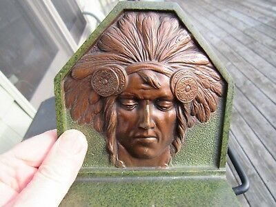 ANTIQUE 1920's CAST IRON INDIAN HEAD BOOKENDS ARTS & CRAFTS BY H.L. JUDD CONN.