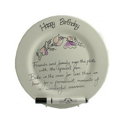 75th Birthday Sweet Pea Signing Plate(rd)