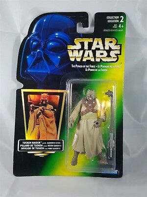 Star Wars POTF Bilingual Card Tusken Raider w/ Gaderffii Stick Hologram NIP