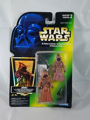 Star Wars POTF Bilingual Card Jawas w/Glowing Eyes & Blaster Pistols Hologram