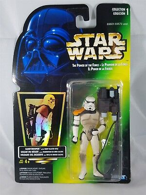 Star Wars POTF Bilingual Card Sandtrooper w/ Heavy Blaster Rifle Hologram NIP