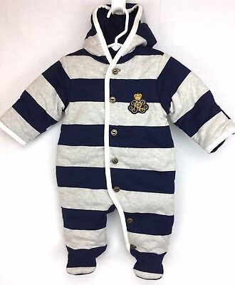 Ralph Lauren Baby Outfit 3M Navy Blue Gray Striped Cotton PADDED Warm New
