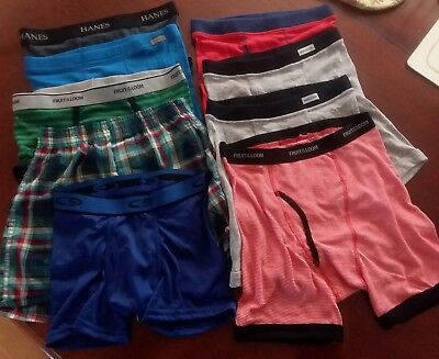 New Lot of 9 Boys Underwear  Boxers Hanes-fruit of the loom Youth sizes vary