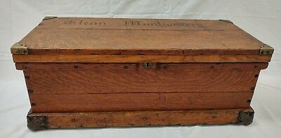 Antique Wood Tool Box/ship Sailors Wood Trunk - Cherry With Metal Corners