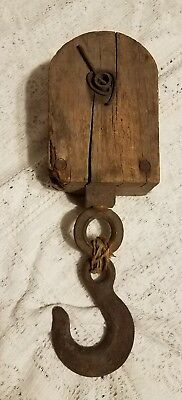 Vintage Antique Primitive Wood Pulley Barn Steel Single Wheel Hook Old Tool Work