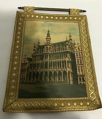 Vtg GOTHIC REVIVAL Building church. Holland? Netherlands? WALL ART MAT Brass Bar