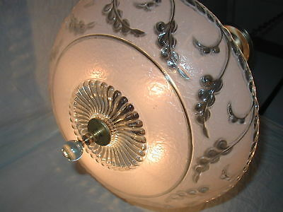 ANTIQUE VTG PINK SHADE FLORAL ART Deco GLASS LIGHT FIXTURE CRYSTAL CHANDELIER