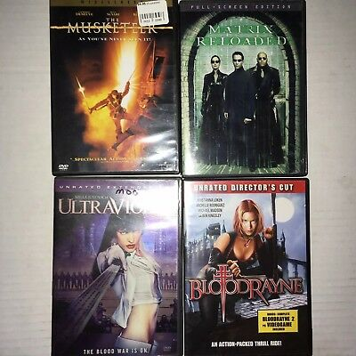 Action Movie Used DVD Lot Of 4 Matrix ultraViolet Musketeer Bloodrayne
