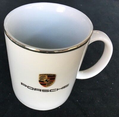 Porsche Coffee Mug Porcelain Cup Made in Germany 8.5 oz Gold Rim NEW