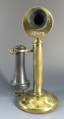 Antique c 1915 Western Electric Co. Brass Candlestick Telephone Phone NR #2 yqz