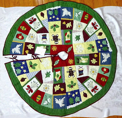 """Pottery Barn Quilted Christmas Tree Skirt Patchwork Snowflake Trees Holly 58"""""""