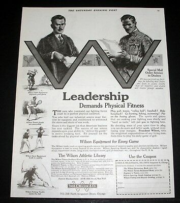 1918 Old Wwi Magazine Print Ad, Wilson, Leadership Demands Physical Fitness!