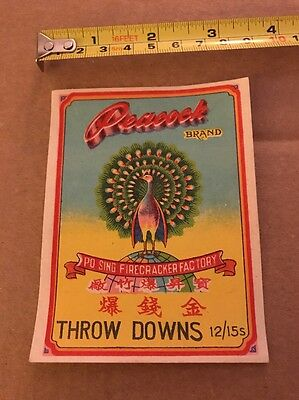 Vintage Peacock Throw Downs Firecracker Label