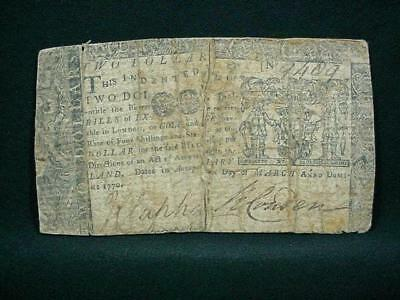 NobleSpirit NO RESERVE {3970}Outstanding 1770 Maryland $2 Colonial Currency