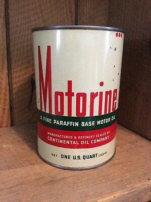 1940's CONOCO Motorine Motor Oil Can - 1 quart Metal