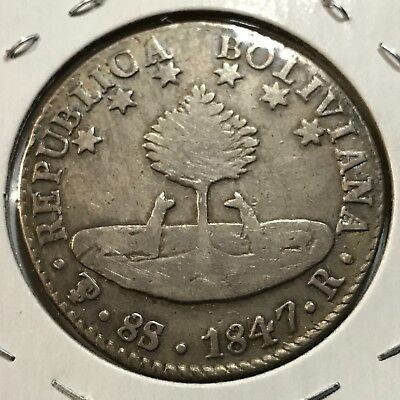1847 Bolivia Silver 8 Sols Crown Size Scarce Coin