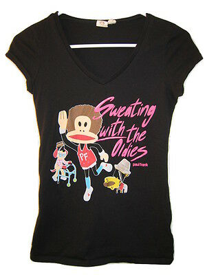 RARE Paul Frank Julius The Monkey T-Shirt RICHARD SIMMONS Black Tee Women Jr. S