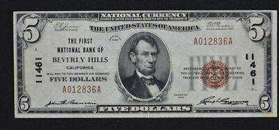 1929 $5 National Bank of Beverly Hills, CA Note Currency VF CH# 11461