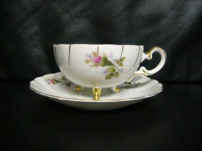 Vintage Ucagco Pink Moss Rose China Tea Cup And Saucer 3 Feet Gilt Made In Japan