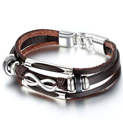 Genuine Leather Bracelet Love Infinity Symbol Charm for Man Woman Cuff Wristband