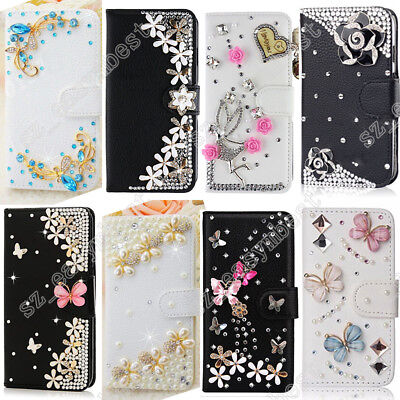 Bling Magnetic Cover Stand Cards Wallet PU Leather Flip Case For Samsung Galaxy