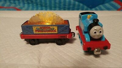 THOMAS THE TRAIN and SODOR FIREWORKS DIE CAST TRAIN CAR SOUNDS, LIGHTS WORKS