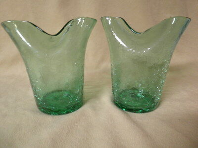 Vintage Pair Green Mid Century Crackle Glass Pinched Top Vases  Great Set