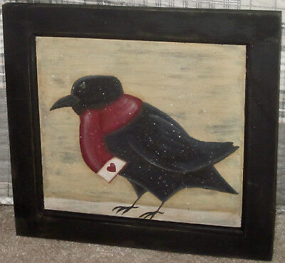 *~*primitive*~* Hp Folk Art Prim Crow *~* Valentine *~* Door Panel