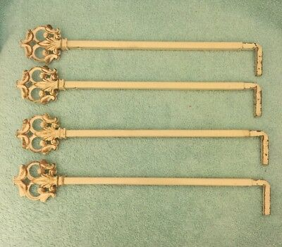 4 Antique/Vintage Iron Swing Arm Adjustable Curtain Rods Distressed Cream
