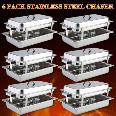 6 Pack Catering Stainless Steel Chafer Chafing Dish Sets 8 Qt Full Size Buffet H