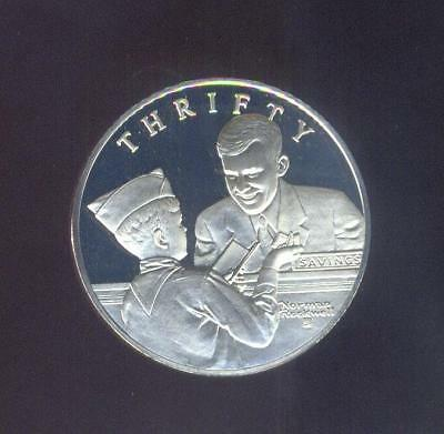 """Norman Rockwell Boy Scout """"Thrifty"""" Oath Sterling Silver Medal, Free USA Ship."""