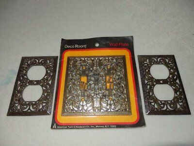 Vintage Double Filigree Switch Plate Cover & 2 Filigree Outlet Covers