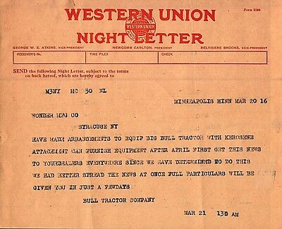 Vintage 1916 Big Bull Tractor Western Union Telegram Minneapolis Minnesota