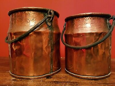 Pair LARGE ANTIQUE Solid copper dovetailed hammered cauldron pot wrought handle
