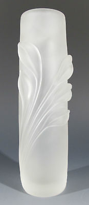 Early! William Glasner Signed Twisted Foliage Frosted Art Glass Bud Vase #2 yqz