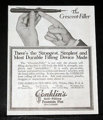 1918 Old Magazine Print Ad, Conklin's Self Filling Fountain Pen, Most Durable!