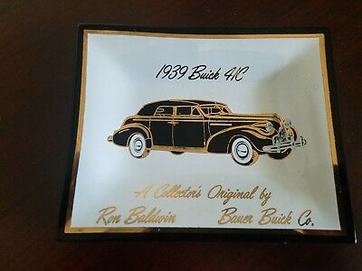 Vintage Glass Ashtray / coin Dish - 1939 Buick 41C - Bauer Buick