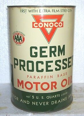CONOCO  Germ Precessed AAA 5 quart  oil can - very nice both sides