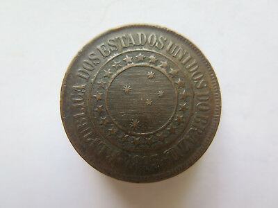 1893 BRAZIL COPPER 40 REIS COIN in EXCELLENT CONDITION